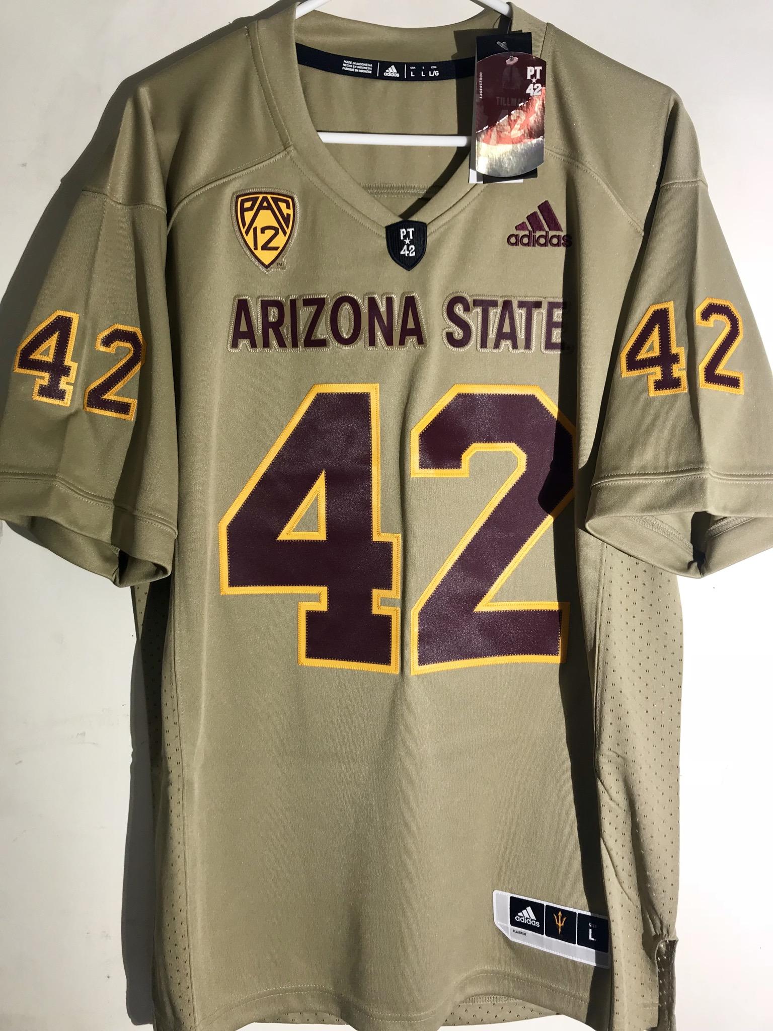 new york f921d 9ec44 Details about Adidas Premier NCAA Jersey Arizona State Sun Devils Pat  Tillman Tan sz M