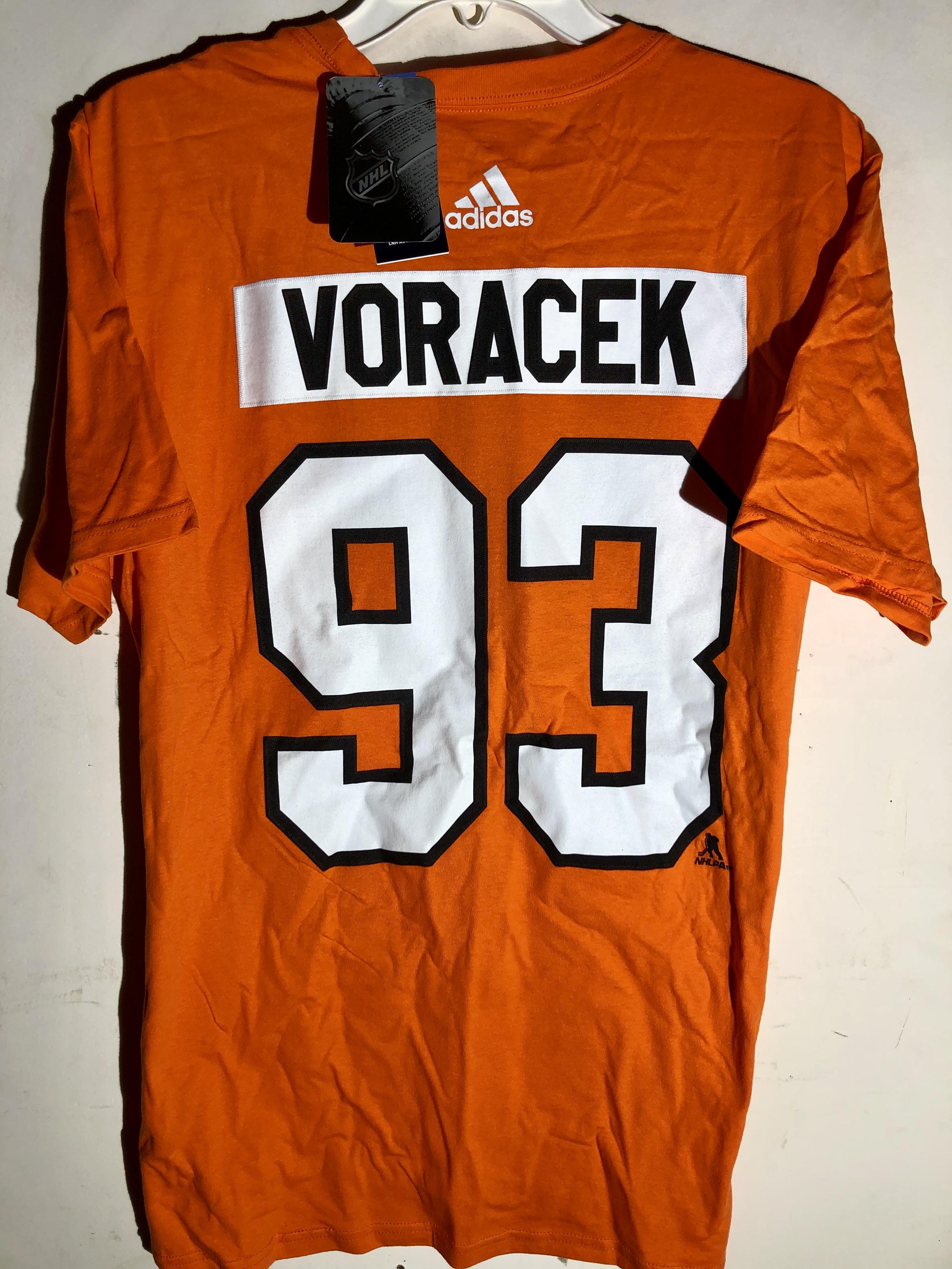 quality design 2e0b5 4589a Details about adidas NHL T-Shirt Philadelphia Flyers Jakub Voracek Orange  sz L