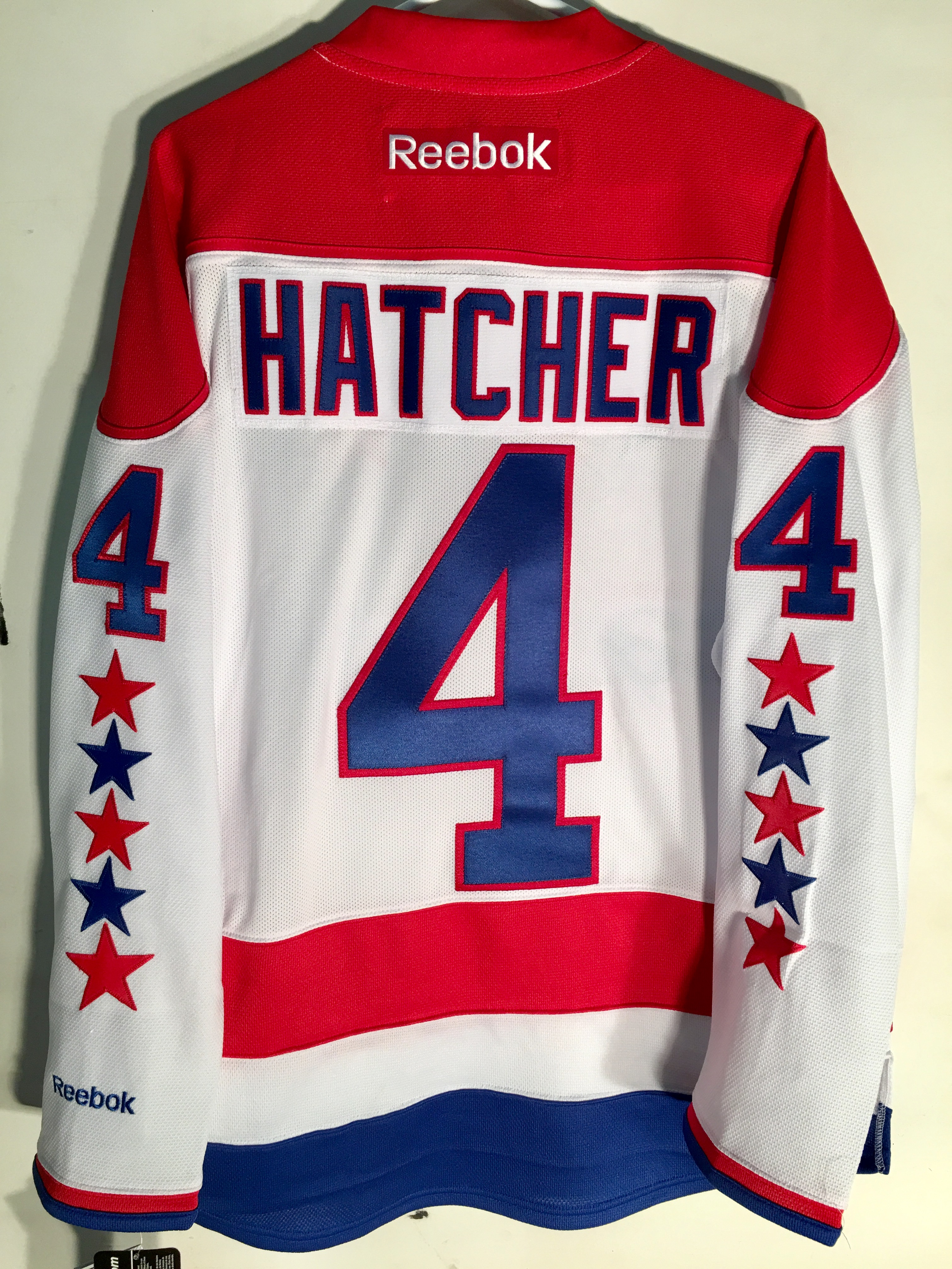 8b2e2d486 Reebok Premier NHL Jersey Washington Capitals Kevin Hatcher White sz ...