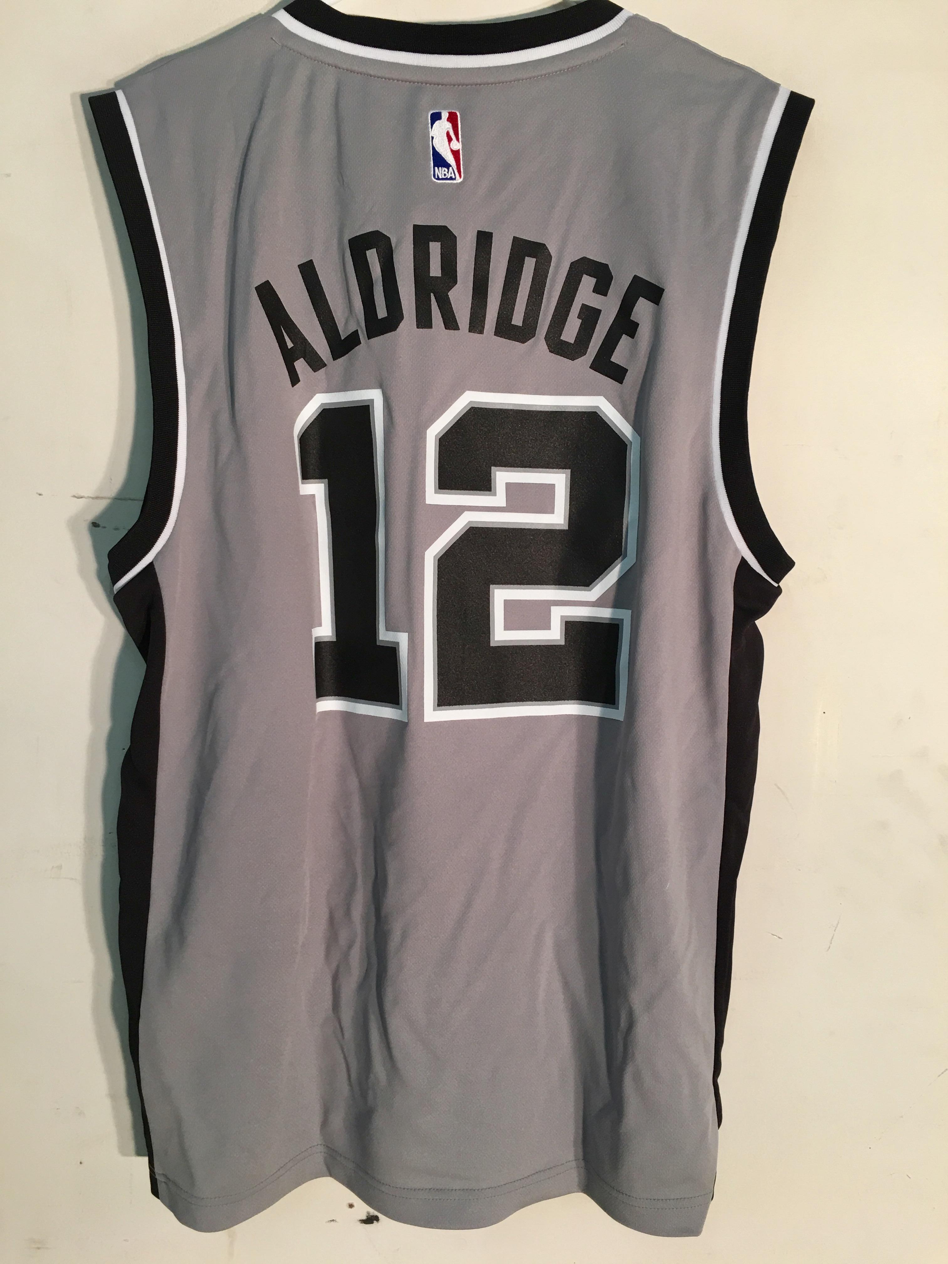 3648c0eeb Adidas NBA Jersey San Antonio Spurs LaMarcus Aldridge Grey sz M