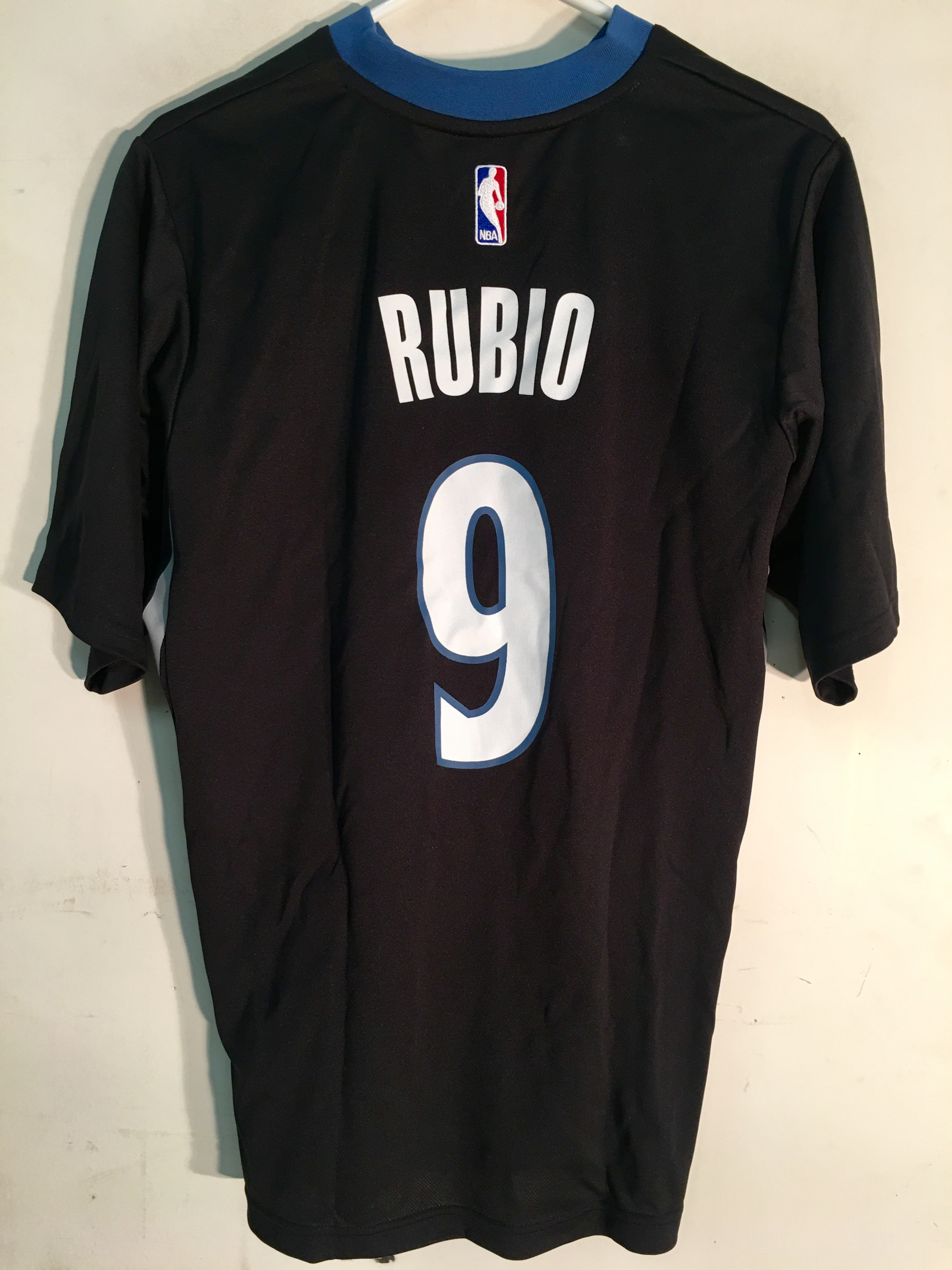 3449f784ad36 Details about Adidas NBA Jersey Minnesota Timberwolves Rubio Black SS sz S