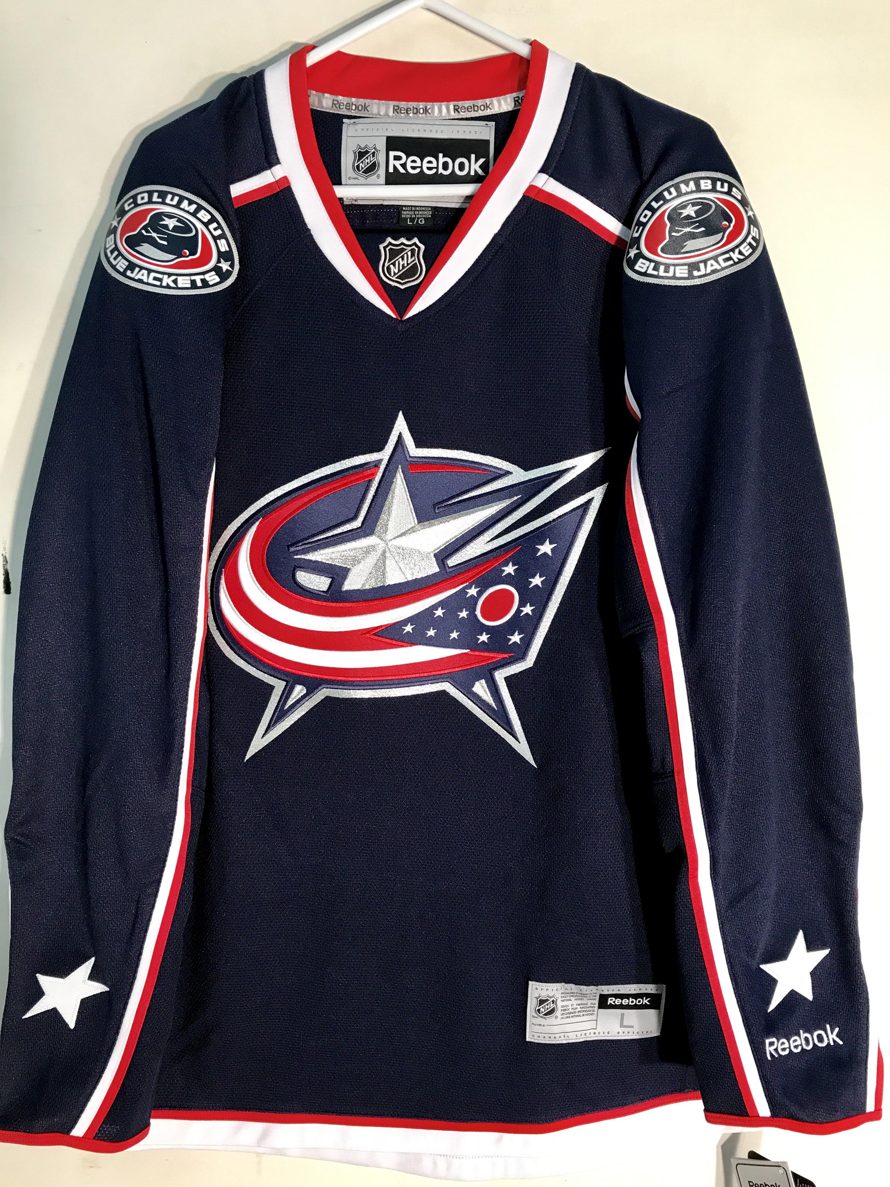 Reebok Premier NHL Jersey Columbus Blue Jackets Team Navy sz L  d59abd332