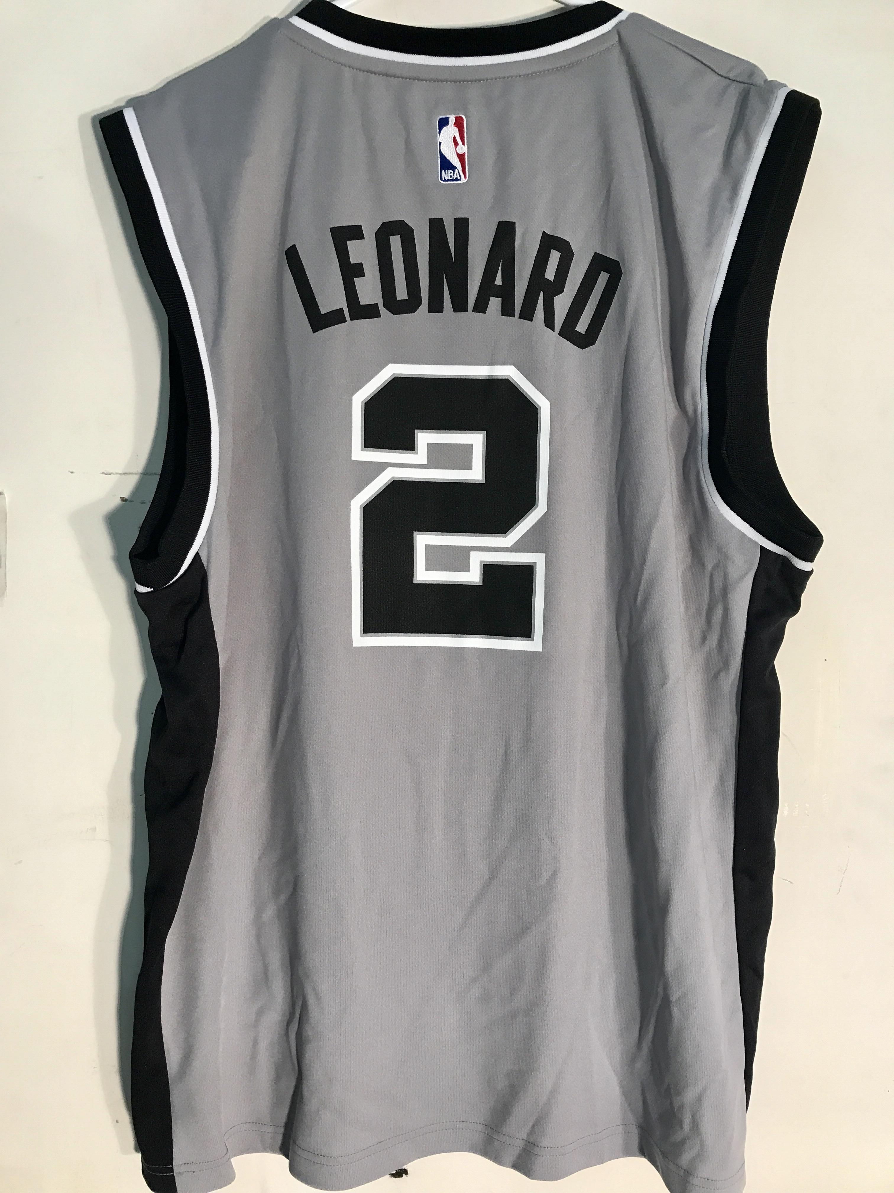 new concept 039f2 f1bdd Details about Adidas NBA Jersey San Antonio Spurs Kawhi Leonard Grey sz L