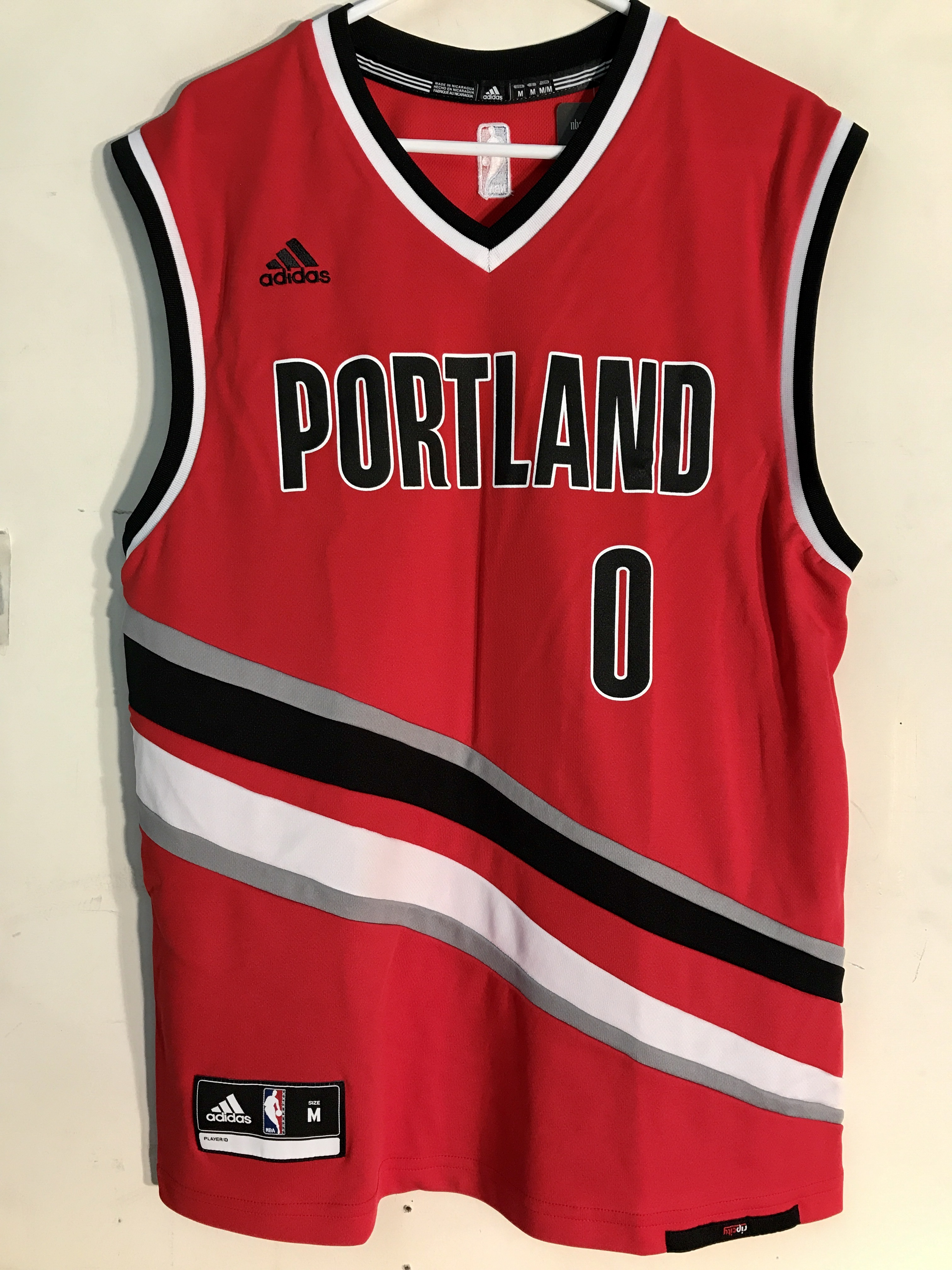 sneakers for cheap aab1e d73a4 Details about Adidas NBA Jersey Portland Trailblazers Damian Lillard Red  Alt sz XL